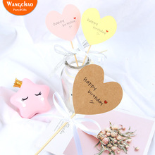 10pcs Paper Love Heart Theme Happy Birthday Cake Topper Sweet Shaped Cupcake Party Supplies Decorating