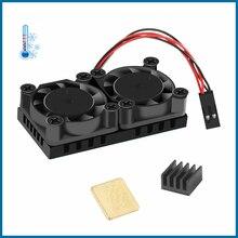 С робот Raspberry Пи охлаждения двойной вентилятор набор (2 вентилятора + Hestsink скотча) 2 шт радиаторы для 3Б+ RPI115