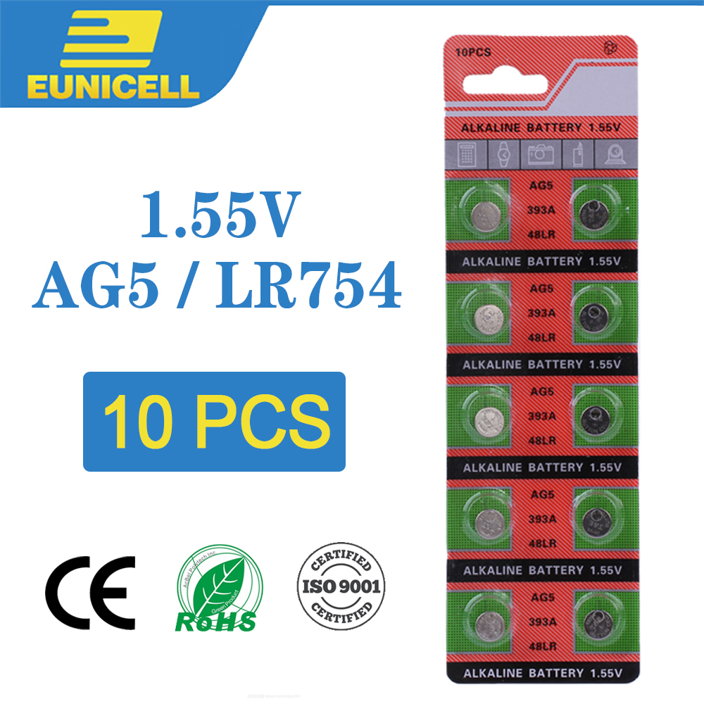 10pcs Alkaline Cell Coin Battery 1.55V AG5 LR754 Button Batteries 393 SR754 193 393A 48LR G5A AG 5 For Watch Toys