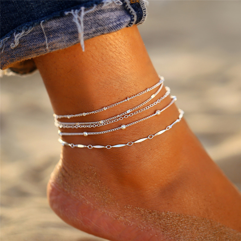 17KM Bohemian Star Lightning Anklet for Women Gold Multilayer Crystal Anklets Shell Chain Foot Bracelet on Leg Beach Jewelry