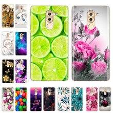 Capa de silicone para huawei honor 6x caso bonito gato flor tpu telefone para huawei honor 6x 6 x volta coque pára-choques fundas