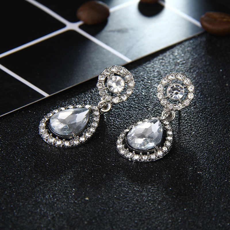 Carter Lisa 2019 Crystal Teardrop Pengantin Panjang Besar Drop Anting-Anting Brincos untuk Wanita Fashion Perhiasan Pernikahan Boucle D'oreille