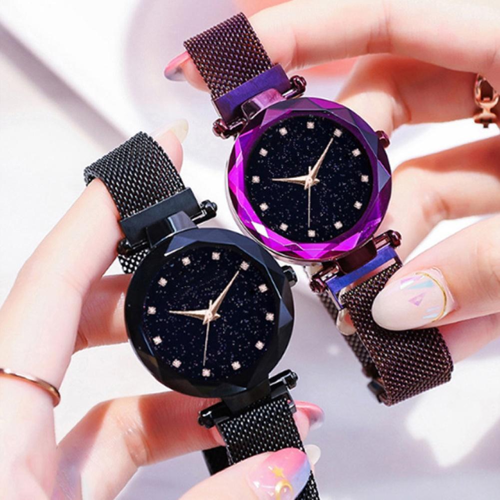 Women Rhinestone Starry Dial Magnetic Stainless Steel Strap Analog Quartz Watch