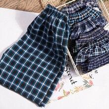 Trousers Sleepwear Pajama Shorts Living-Pants Plaid Cotton Mens Casual Double-Gauze And