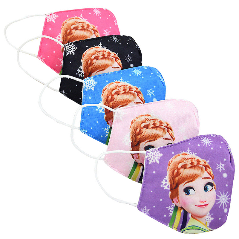 5PCS In Stock Elsa&Anna Facemask For Kids And Adults Prevent The Spread Of Droplets Can Be Washed And Reused Cotton Facemask