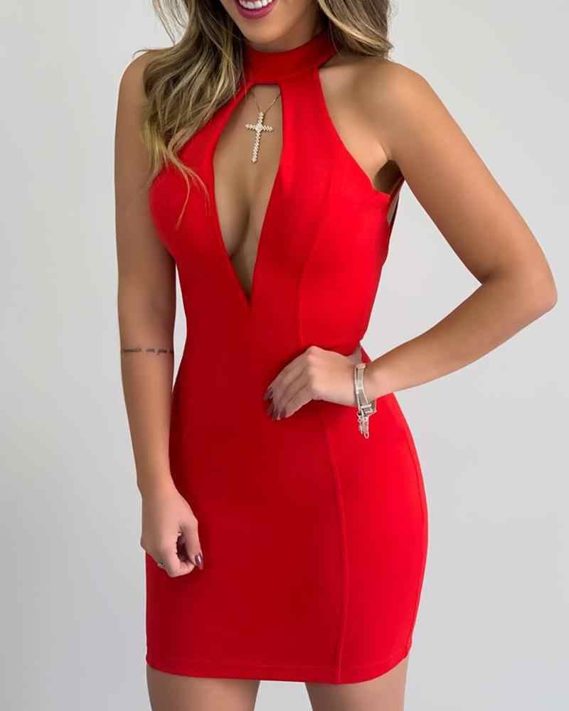 Keyhole Gladiatorschoen Terug Bodycon Jurk Vrouwen Sexy Mouwloze Halter Mini Jurk Solid Night Club Party Dress