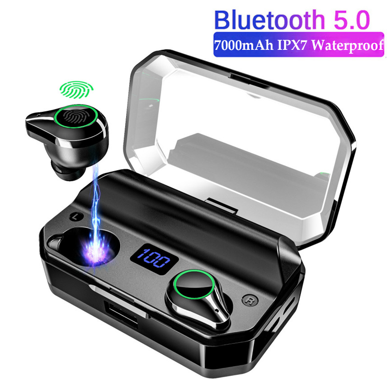 T9 <font><b>TWS</b></font> Bluetooth Earphone IPX7 Waterproof LED Power Digital Display with 7000 mAh Charge Box Power Bank Wireless Stereo Earbuds image
