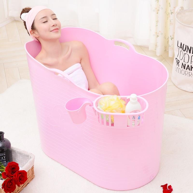 Épaissi dur en plastique adulte bain baril Extra grand bain baril enfants bain demi-pli baignoire baril de bain avec couvercle - 3