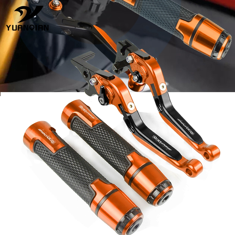 Motorcycle CNC Adjustable Brake Clutch Lever and handle grips set For <font><b>KTM</b></font> 990 SupeRDuke 2005 2006 2007 2008 2009 2010 <font><b>2011</b></font> 2012 image