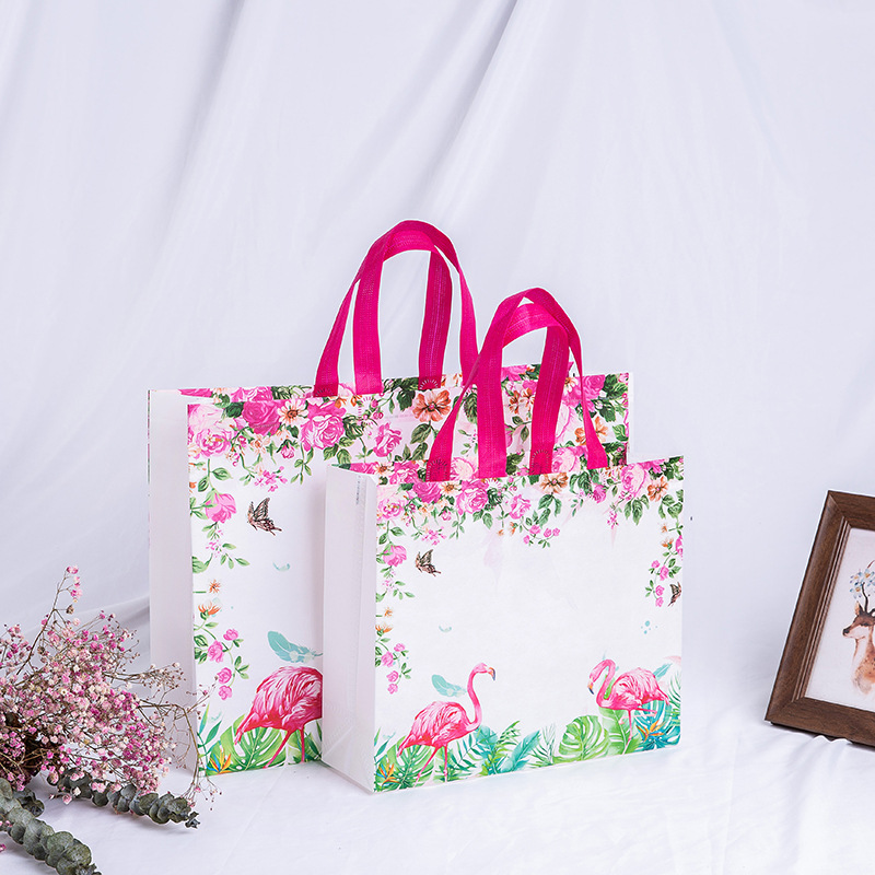 Bird Flower Pirnt Non-woven Shopping Bags Reusable Large Capacity Canvas Travel Storage Bags Foldable Handbag Tote Shopper Bag