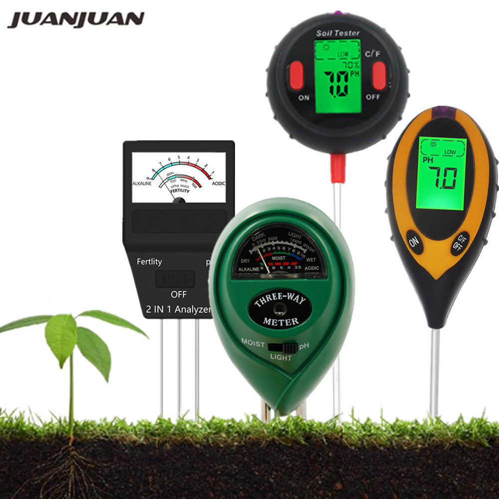 Digital Soil Meter Fertility Tester PH Sunlight Moisture Humidity Garden Temp Soil Gauge Meter 5 in 1/4 in 1/3 in 1/2 in1 40%off