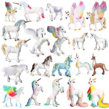 цена на new Unicorn Doll Toy Simulation Mini Animal Model Unicorn Horse Figure Model Wild Figures Kids Toys Figurine