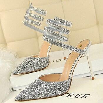 Summer Luxury High Heels Bling Sequin Sandals  2