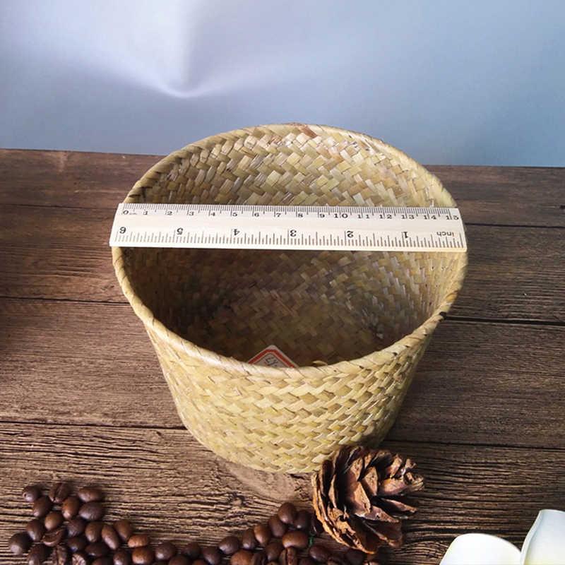 Handmade 16,3*11 cm Seegras Wäsche Korb Klapp Rattan Stroh Blume Topf Pflanzer Korb Kleidung Spielzeug Lagerung Korb Hause