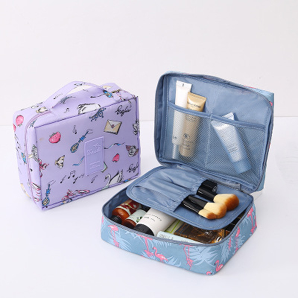 Vertvie 1pcs Cartoon Cute Makeup Holder Outdoor Travel Portable Cosmetics Bag Detachable Interlayer Organizer For Self Driving