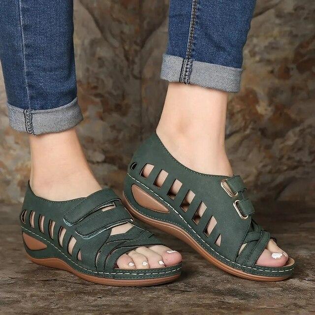 Сандалии-гладиаторы женские на танкетке, мягкие повседневные Босоножки на платформе, обувь на лето 3