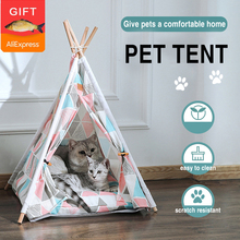Pet Tent House Cat Bed Portable Teepee With Thick Cushion And 6 Colors Available For Dog Puppy Excursion Indoor(Free Fish Toy)