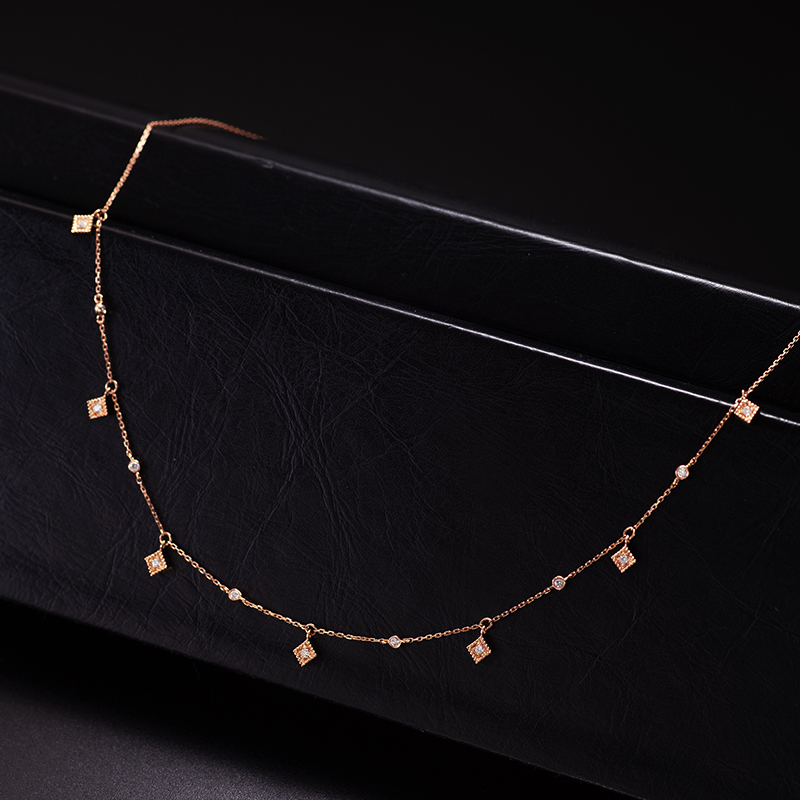 Aazuo Wholesale New Styles Real 18K Rose Gold Real Diamond Fairy Choker Necklace gifted for Women Chain Jewelry Link Chain Au750