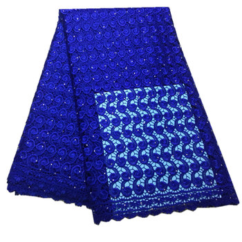Royal Blue Guipure Cord Lace High Quality Nigerian African Cord Lace Fabric Punch Water Soluble For Party Material mv502