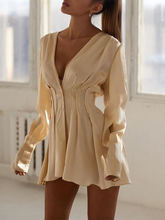Женское Элегантное повседневное мини платье женское с v образным