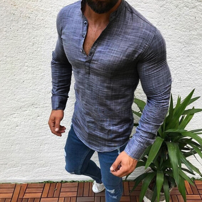 Hot Sale Fashion Long Sleeve Tops Mens V Neck Slim Shirt Autumn Casual Button Formal Pure Color Half Open Shirt Plus Size