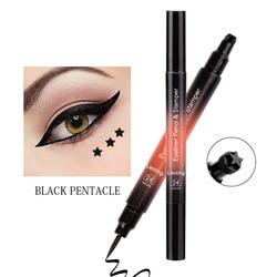 Double Head Stamp Liquid Eyeliner Waterproof Long-lasting Quick Dry Soft Black Brown Star Triangle Shape Stamp Eyeliner TSLM1
