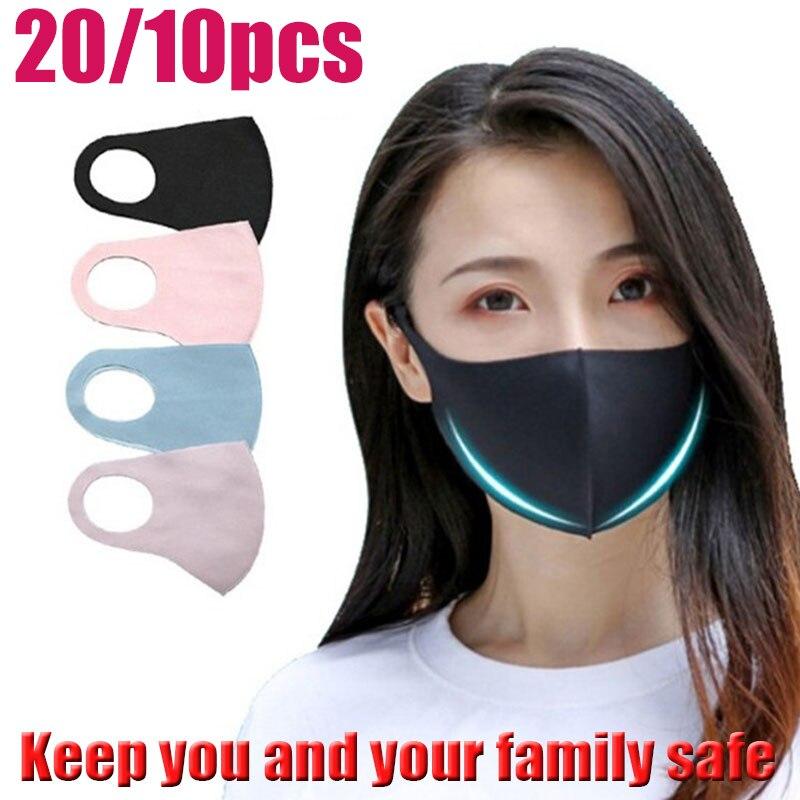 20/10pcs Fashion Black Face Maska Anti Dust Fog Pollution Economic Washable Elastic Earloop Fiber Mouth Masks Health Care Unisex