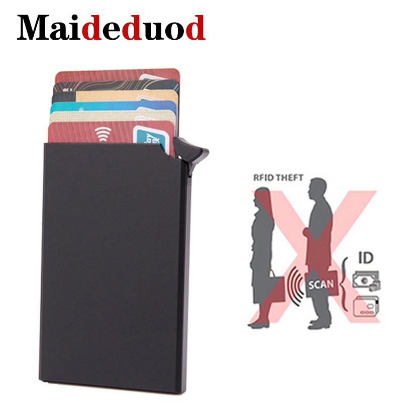 Maideduod High-grade Men Credit Card Holder Business ID Card Case Fashion Automatic RFID Card Holder Aluminium Bank Card Wallets