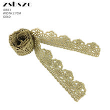2.7CM Width 5Yards Gold Lace Ribbon Trim Glitter Crocheted Knitting Pattern DIY Craft Sewing Supplies(China)