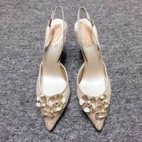 2018 new European and American lace wedding shoes rhinestones pearl gold flower shallow mouth pointed fine word buckle high heel