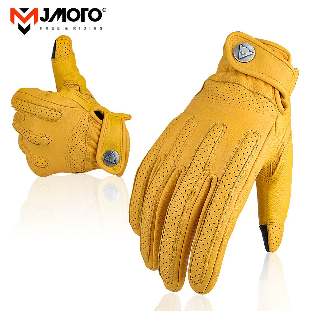 MJMOTO Motorcycle Genuine Leather Gloves Men Motorcycle Riding Full Finger Spring Gloves With Fur Vintage Brown Cowhide Leather