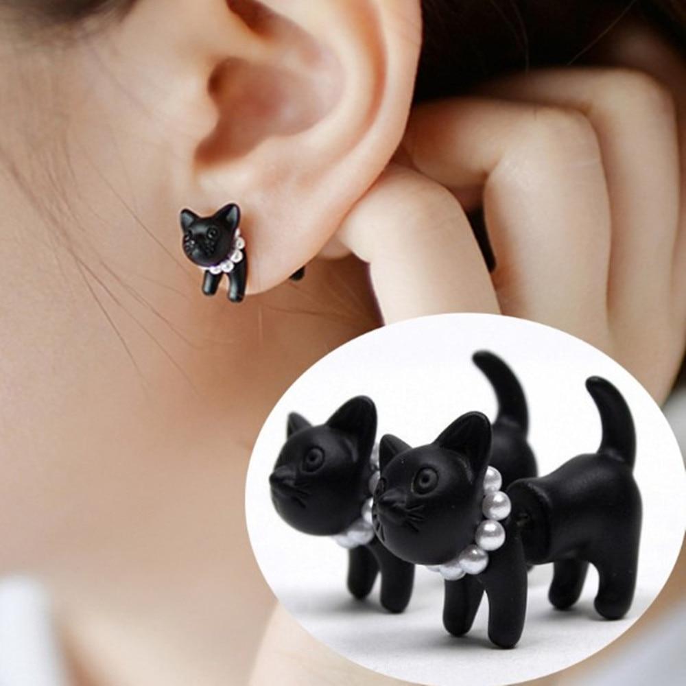1 Pc Fashion Lovely Cute Pearl Leopard Black Cat Ear Stud Earrings