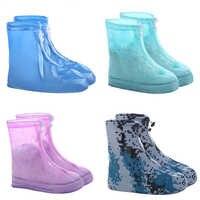 1 par protetor à prova dwaterproof água sapatos bota capa unisex zíper chuva sapato cobre anti-deslizamento sapatos de chuva capas de sapato de água para chuva