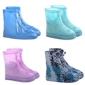 1pair Waterproof Protector Shoes Boot Cover Unisex Zipper Rain Shoe Covers Anti-Slip Rain Shoes Cases Water Shoe Covers For Rain