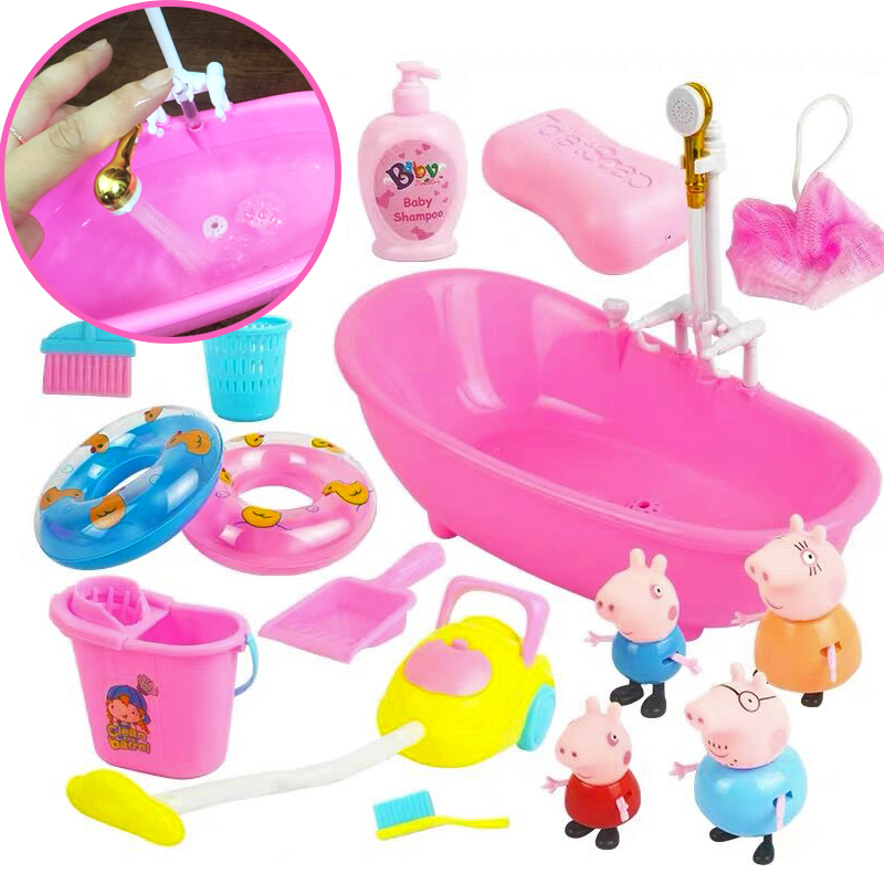 Toy Peppa Pig Cycle Electric Water Bath Children Peppa Pig Classmates Bathing Suit Swimming Water Spray Play House Toy Gifts