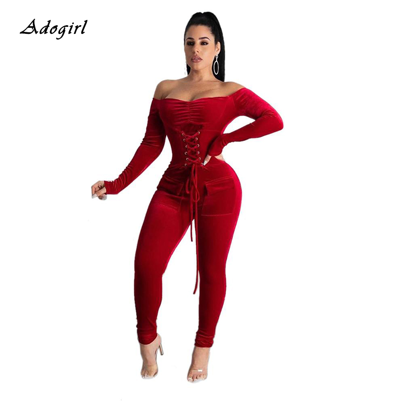 Elegant Off Shoulder Velvet Jumpsuit Women Long Sleeve Lace Up Gromment Bodycon Jumpsuit Sexy Bandage Club Outfit Romper 2XL