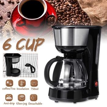 Ekspres do kawy 600W 750ML biuro domowe amerykański styl kroplówki herbaty kawy 6 filiżanek ekspres do kawy regulacja temperatury nowy tanie i dobre opinie becornce ABS+PP 220 v Espresso Americano Machiatto Latte Cappuccino