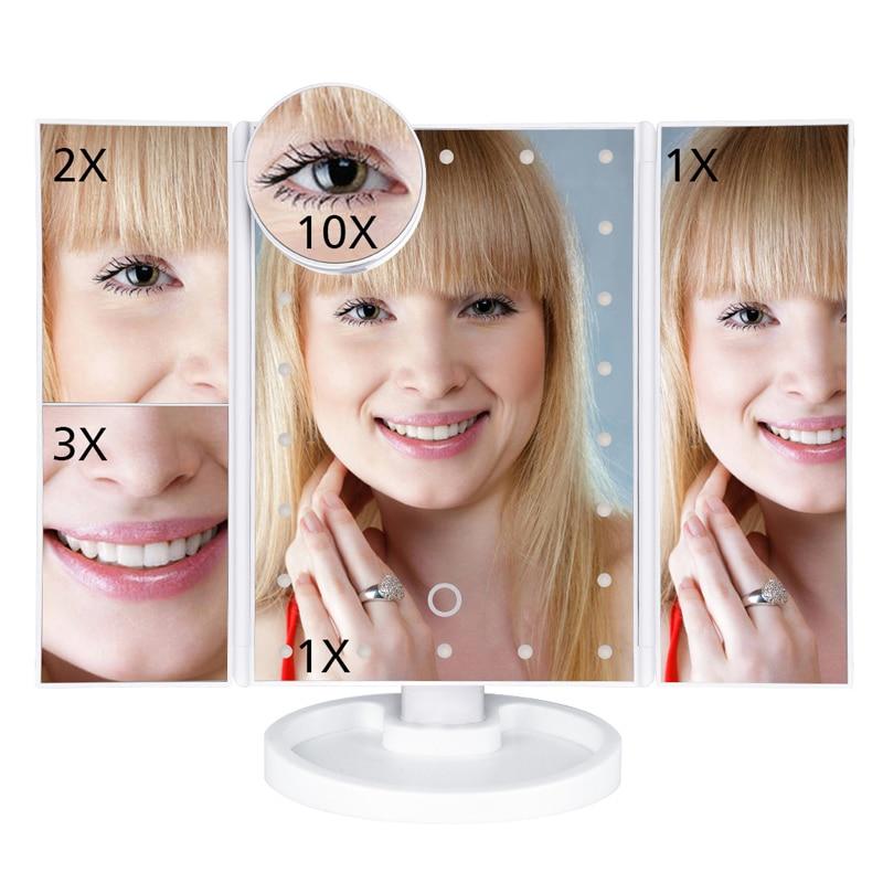 LED Touch Screen 22 Light Makeup Mirror Table Desktop 1X/2X/3X/10X Magnifying Vanity 3 Folding Adjustable 9