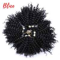 Blice Kinky Curly Synthetic 6 Crochet Braid Hair Extensions 4pieces /Pack Bulk Natural Black Lock Hook Hair Bundles For Women