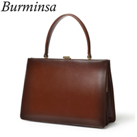 Burminsa Vintage Clasp Women Genuine Leather Handbags Work Female Tote Bags Metal Frame Design Ladies Hand Bags 2020 BOX PACKING