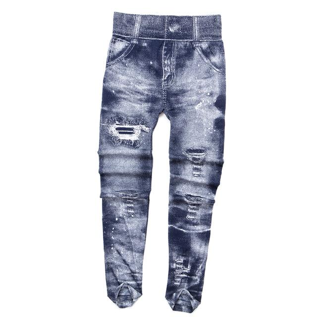Women Imitation Jeans Leggings Slim Elastic Pencil Pants Casual Tights 2019 New Items for Autumn Fashion Hole Vintage Denim Pant 8