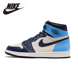 Zapatillas de baloncesto originales Nike Air Jordan 1 Obsidian para hombre, zapatillas deportivas de mujer de alta calidad para deportes al aire libre 555088-140