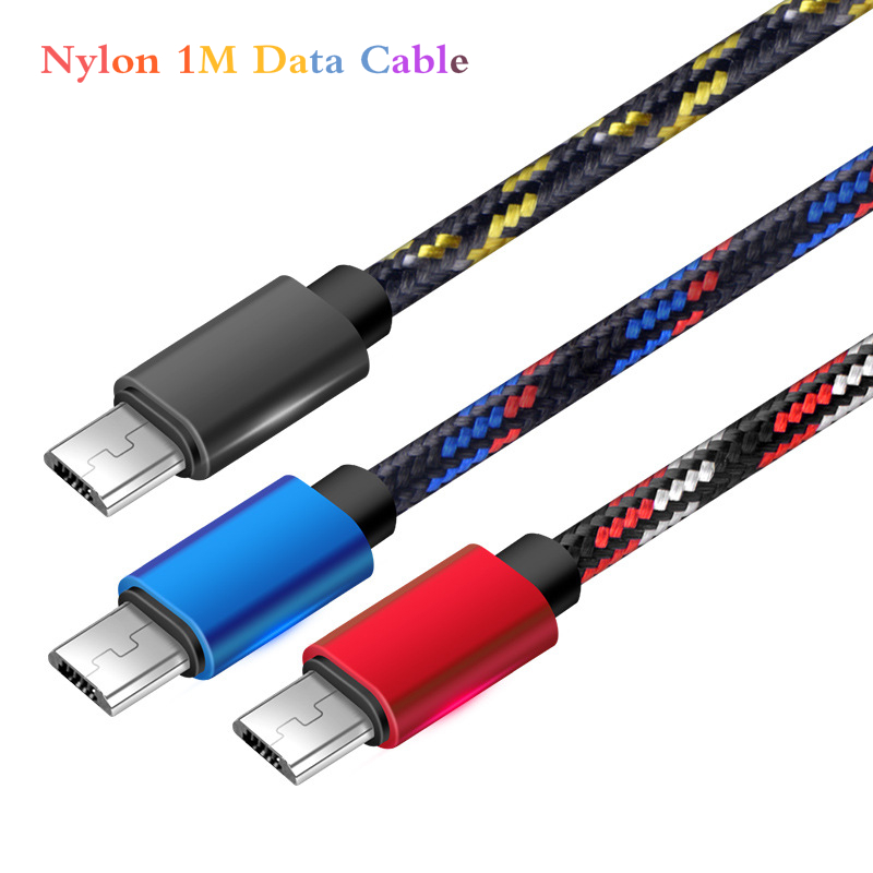 Nylon 1m Data USB Charger Cable Fast Charging V8 Long Wire Cord Android Mobile Phone USB Charging 2A Mobile Phone Charging Cable
