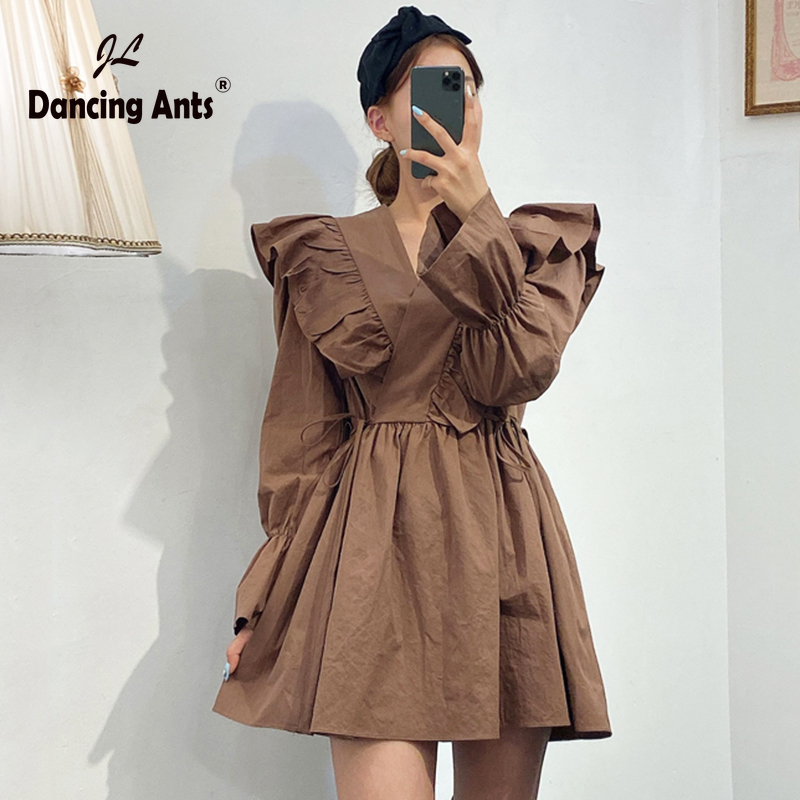 Woman A-line Dress V-Neck Lantern Sleeve High Waist Ruffles Lace Up Slim Dresses Elegant Vintage Above Knee Solid Dress