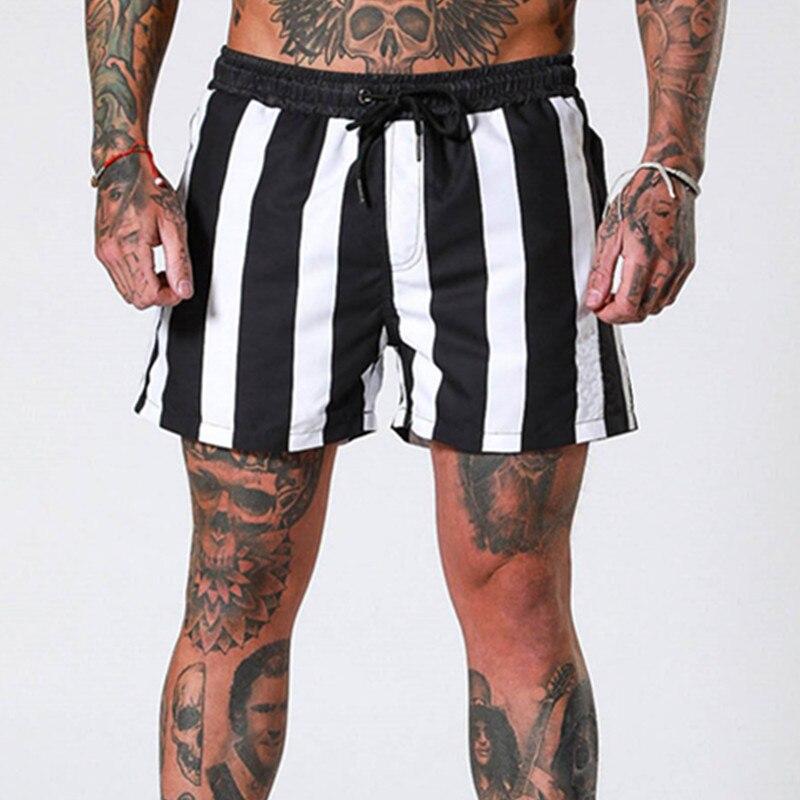 Summer Stripe Fitness Shorts Mens Fashion Breathable Quick-drying Elastic Gyms Bodybuilding Joggers Shorts Sweatpants Shorts