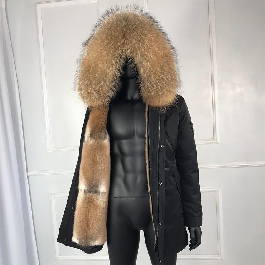 Muskrat Fur Coat For Men High Quality Real Fur Parkas Natural Raccon Fur Collar Winter Thicken Fur Lining Mens Overcoat