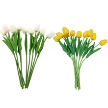 Tulip-Flower Decorate Bouquet Artificial White Yellow For Wedding 20pcs with Leaves