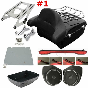 Motorcycle Pack Trunk Rack Backrest Speaker Tail Light For Harley Tour Pak Touring Road King Street Electra Glide FLHR 14-20 motorcycle two up luggage rack docking hardware for harley tour pak touring road king electra street glide flhr fltr flhx 97 08