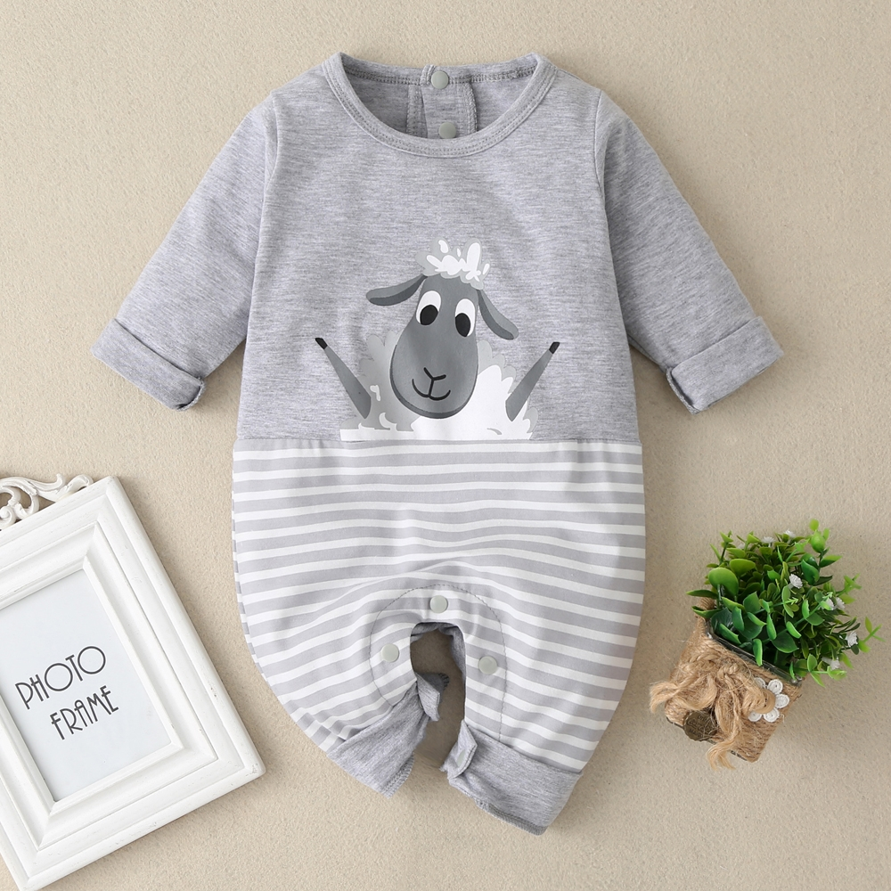 2020 Newborn Baby Boys Girls Clothes Stripes Long Sleeve Sheep Printe Spring Fall Romper Kid Cotton One Piece Jumpsuit Playsuit