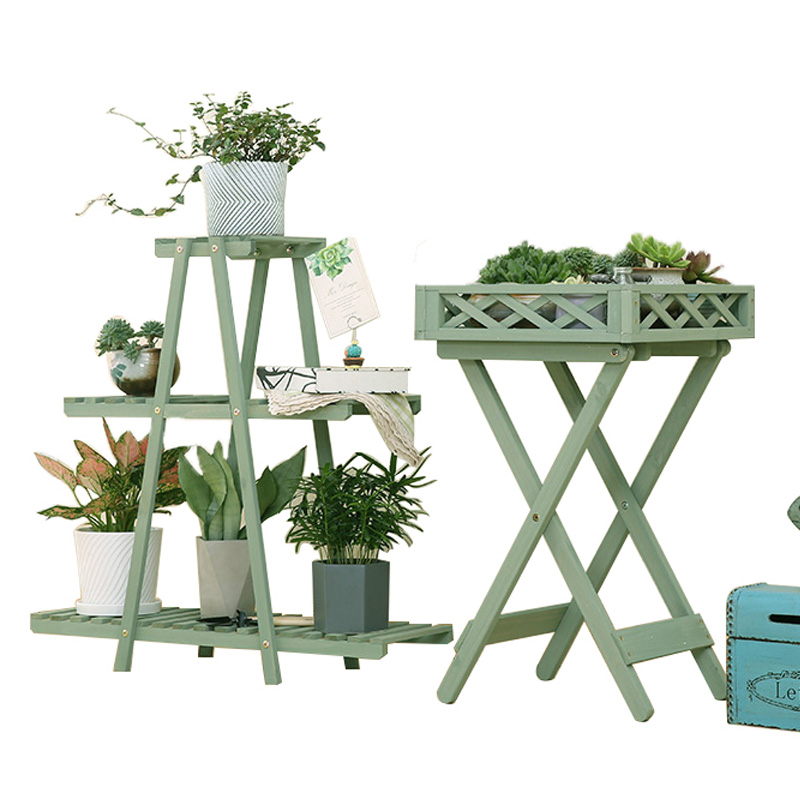 Solid Wood Balcony Indoor And Outdoor Green Sorrel Succulent Flower Shelf Living Room Floor Anti-corrosion Wood Pot Rack